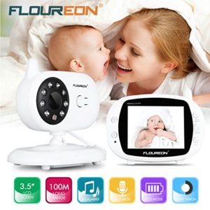 FLOUREON Babyphone Wireless Video Baby Monitor Kamera 3.5 Zoll LCD Display Gegensprech Nachtsicht Temperatursensor 4 Schlaflieder - 2